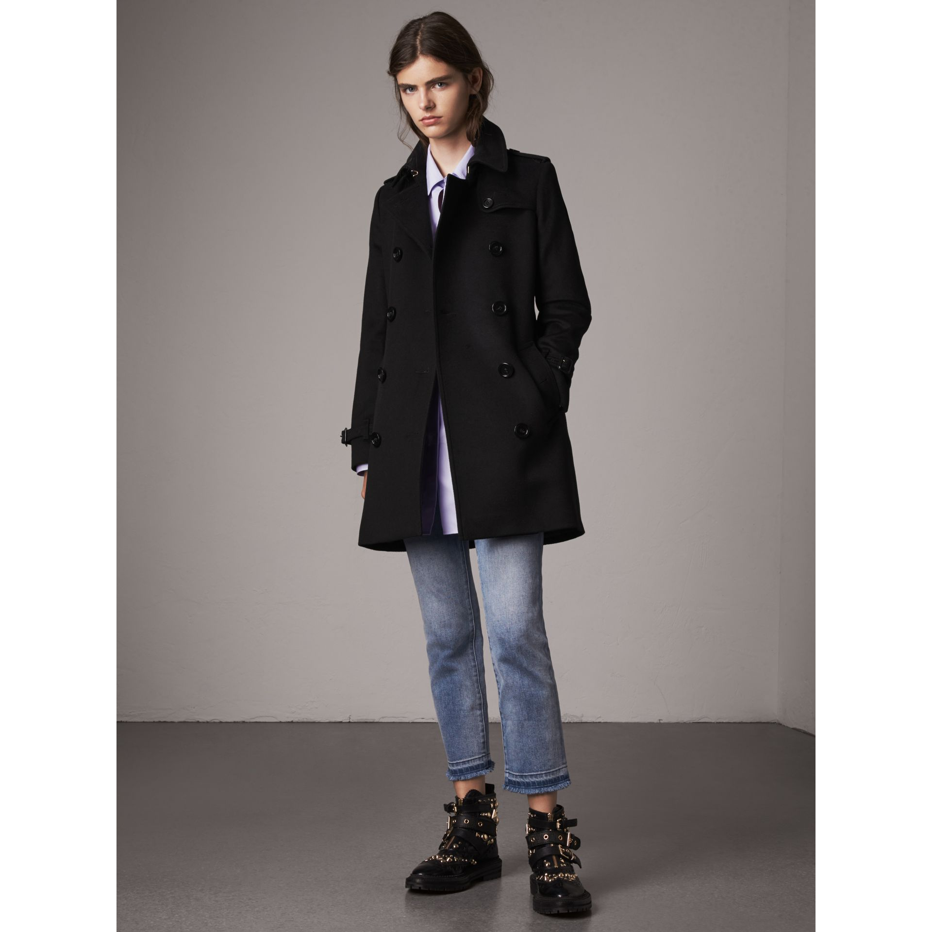 Wool Cashmere Trench Coat in Black - Women | Burberry United Kingdom - gallery image 0