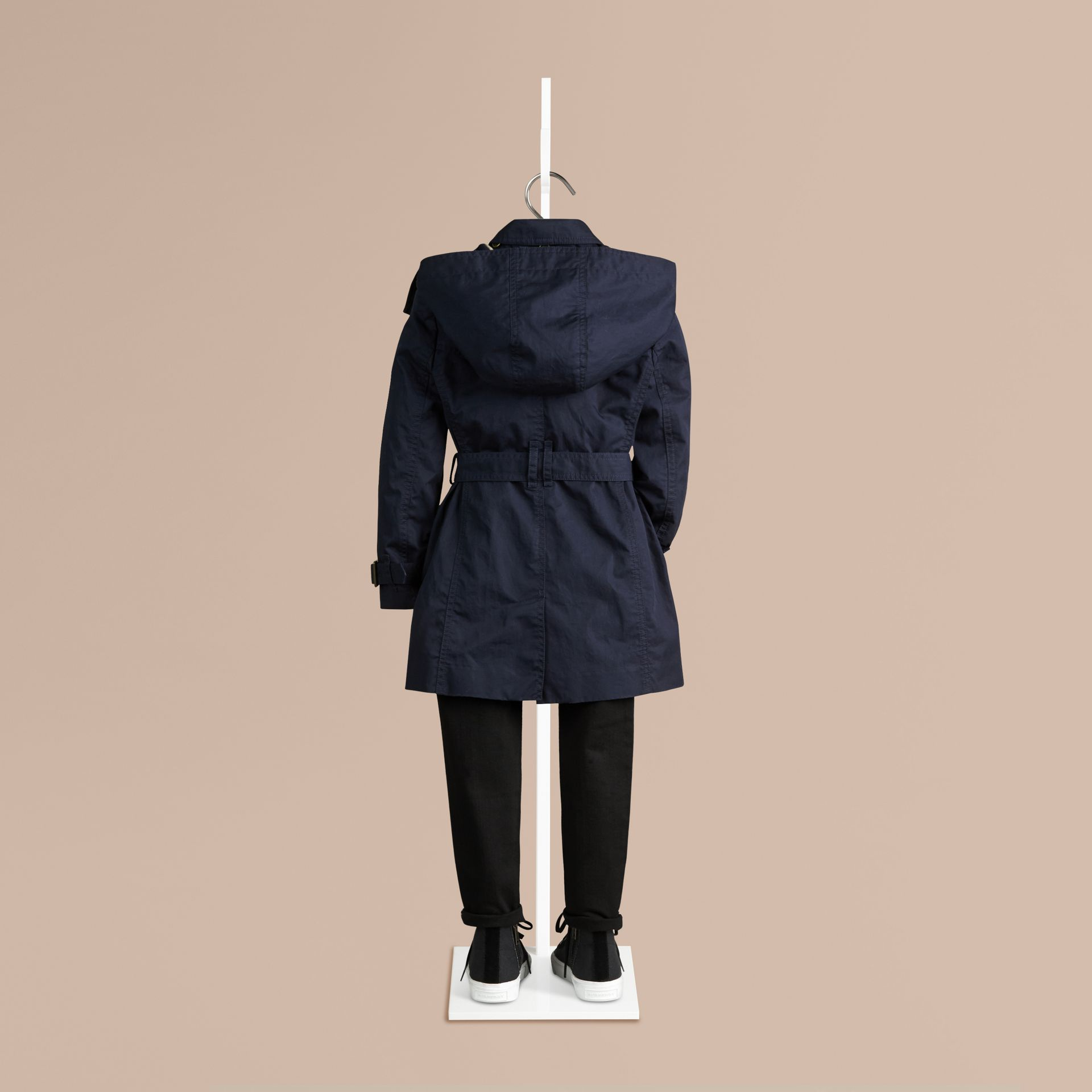 Navy Cotton Twill Trench Coat With Detachable Hood - gallery image 2