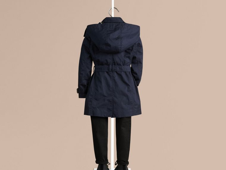 Navy Cotton Twill Trench Coat With Detachable Hood - cell image 1