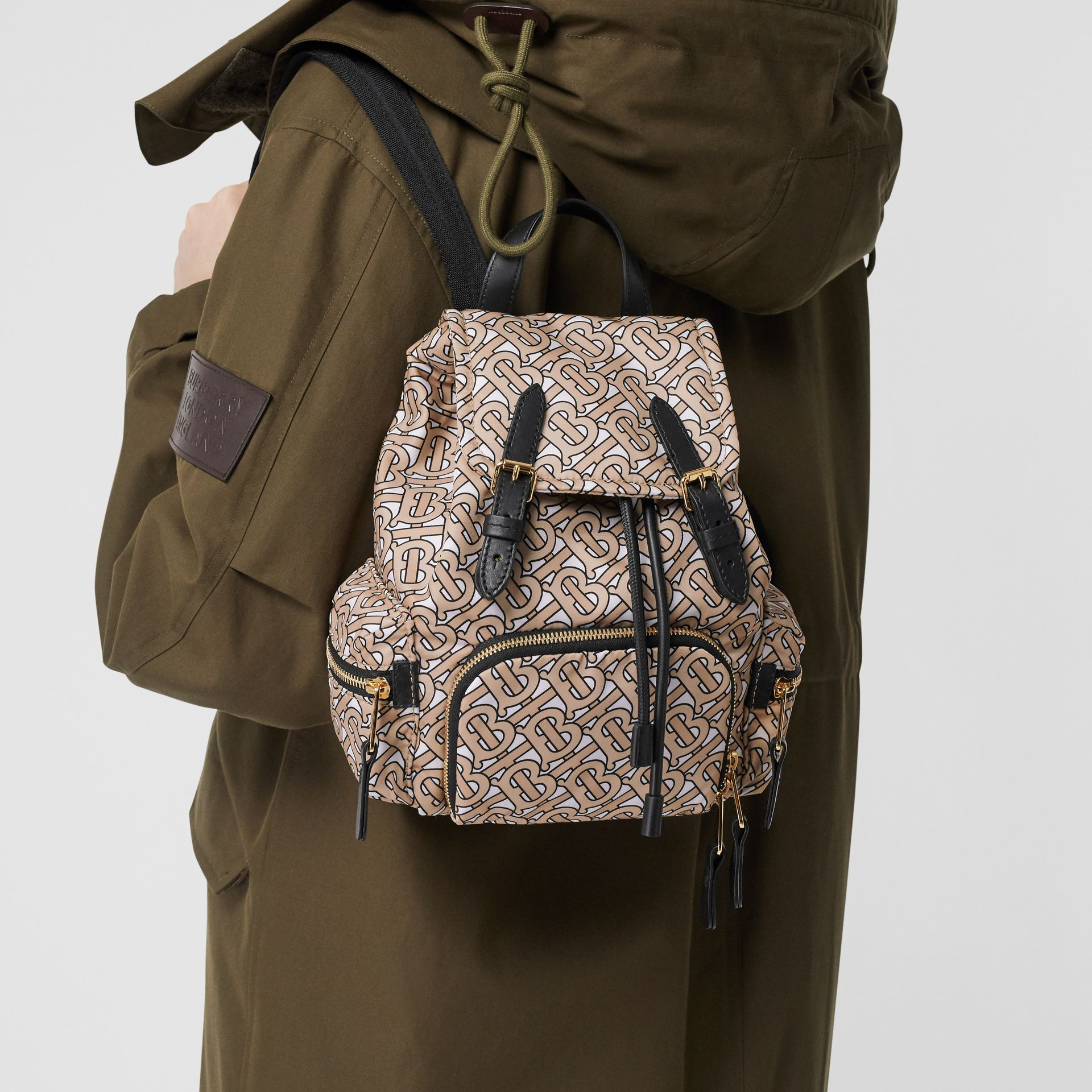 The Small Rucksack in Monogram Print Nylon in Beige - Women | Burberry Australia - gallery image 2