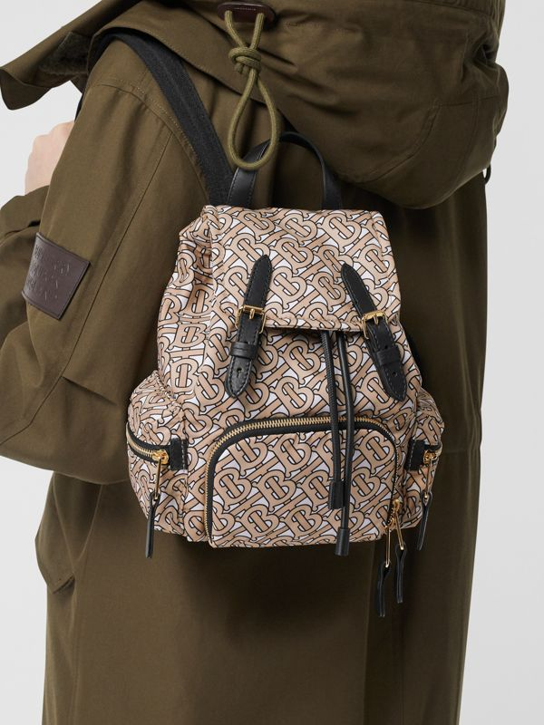 The Small Rucksack in Monogram Print Nylon in Beige - Women | Burberry Australia - cell image 2