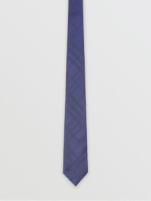 Classic Cut Check Silk Jacquard Tie in Blue - Men | Burberry Singapore - cell image 3