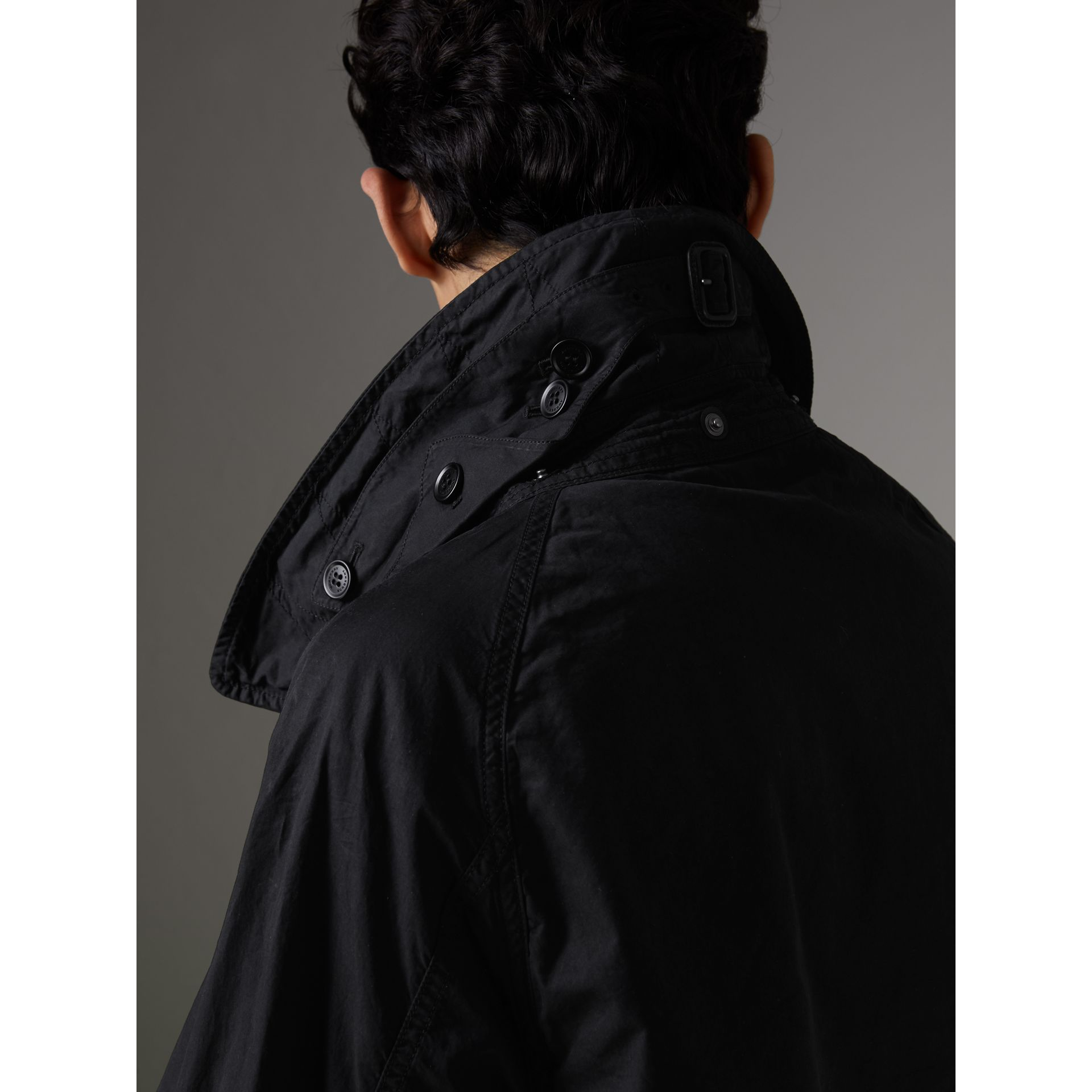 Detachable Hood Cotton Trench Coat in Black - Men | Burberry Hong Kong - gallery image 1