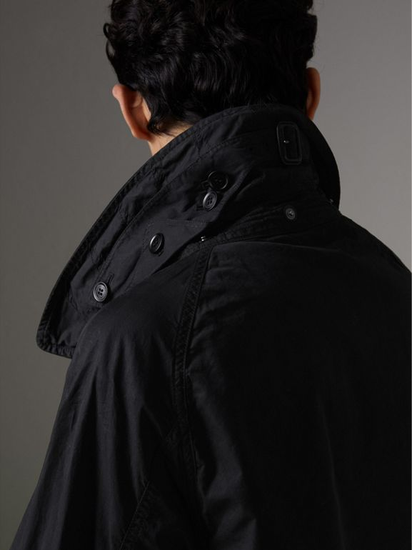 Detachable Hood Cotton Trench Coat in Black - Men | Burberry Australia - cell image 1