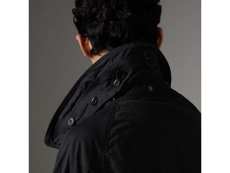 Detachable Hood Cotton Trench Coat in Black - Men | Burberry Singapore - cell image 1