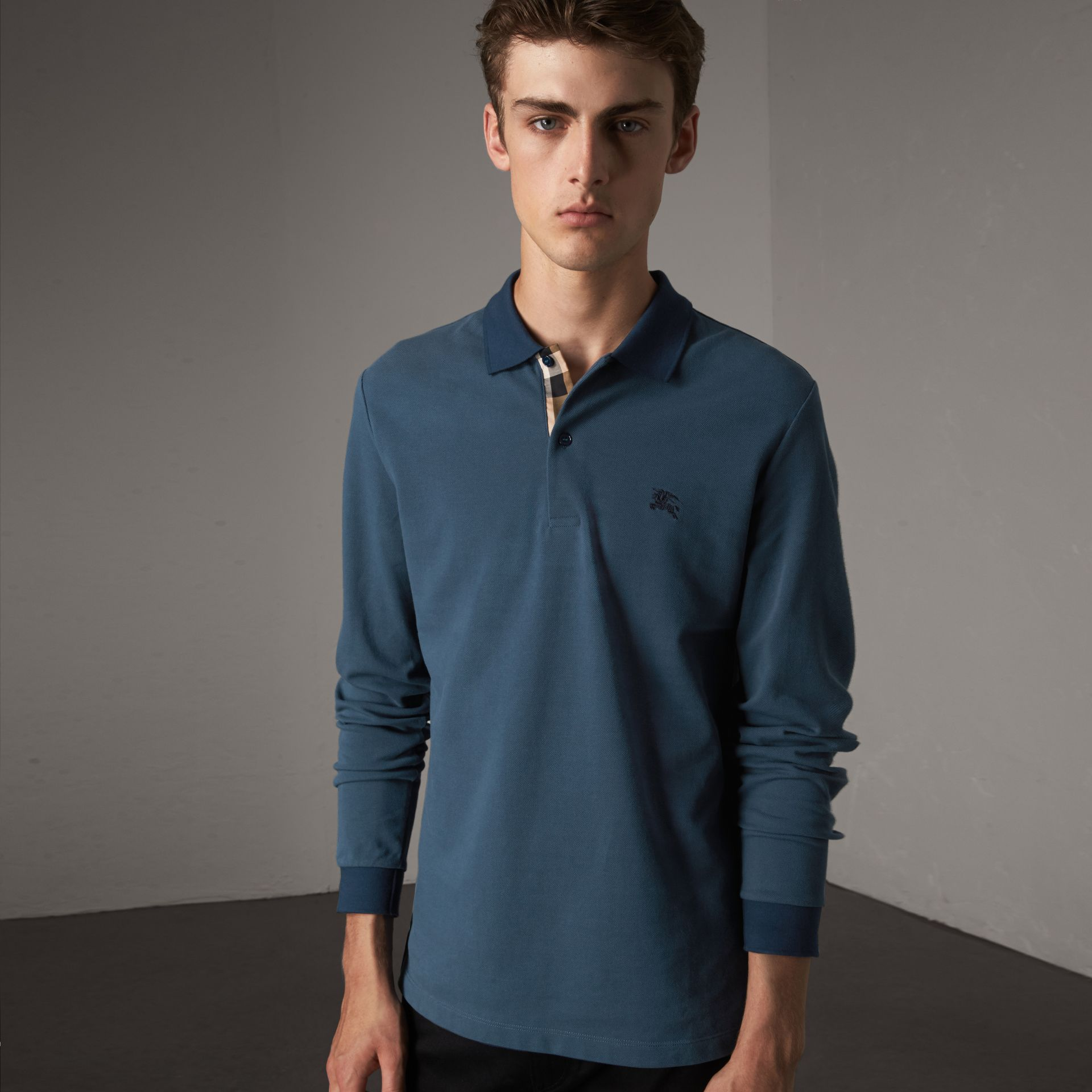 Long-sleeve Cotton Piqué Polo Shirt in Canvas Blue - Men | Burberry United States - gallery image 0
