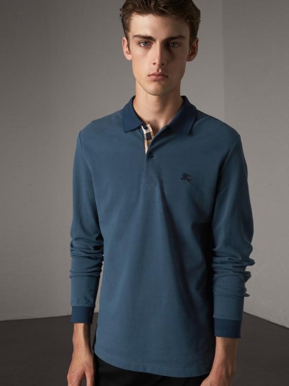 Long-sleeve Cotton Piqué Polo Shirt in Canvas Blue