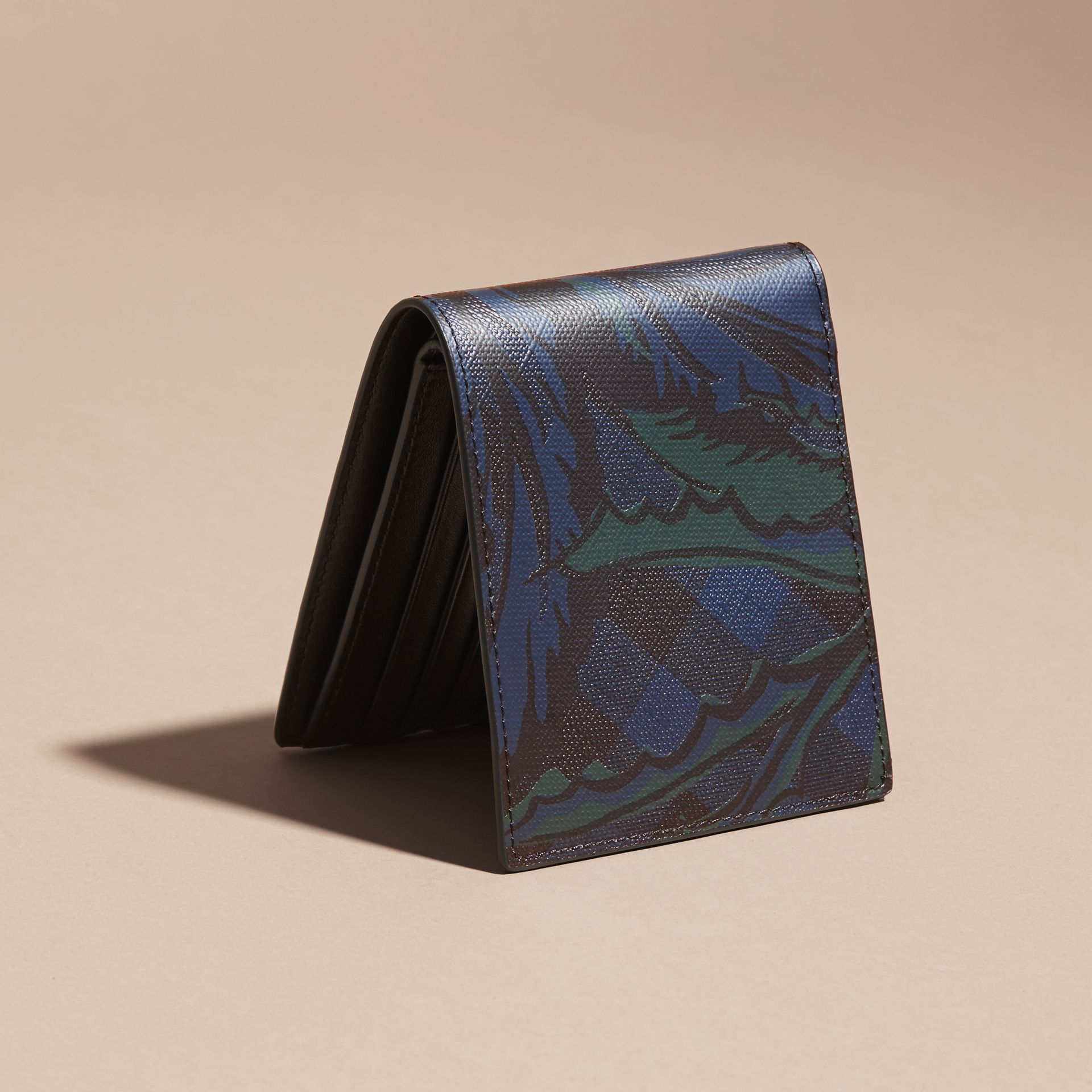 Floral Print London Check Folding Wallet Navy - gallery image 4