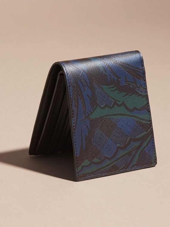 Floral Print London Check Folding Wallet Navy - cell image 3