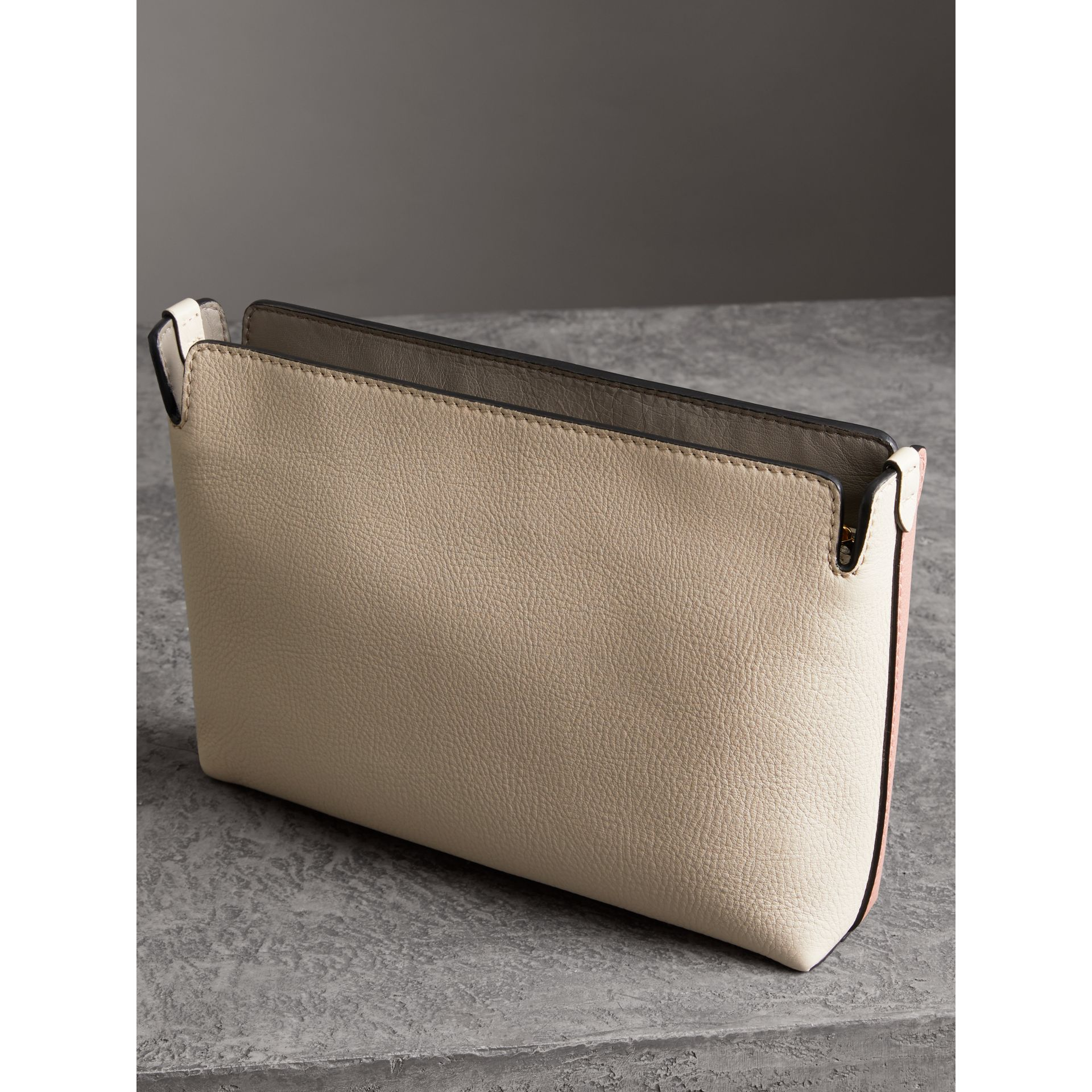Medium Tri-tone Leather Clutch in Dusty Rose/limestone | Burberry - gallery image 4