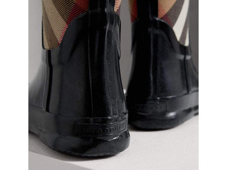 House Check Panel Rain Boots in Black | Burberry Australia - cell image 1