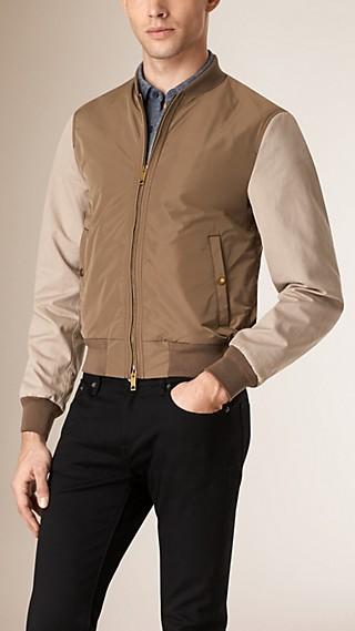 Contrast Sleeve Showerproof Bomber Jacket