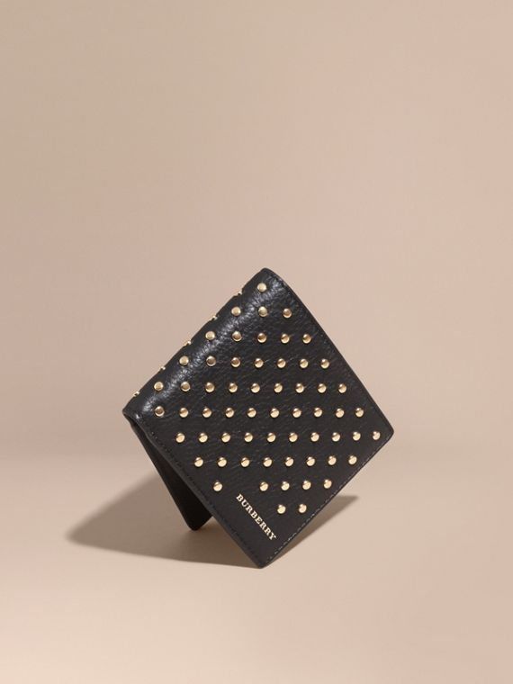 Studded Leather Folding Wallet