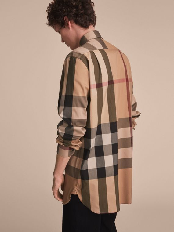Check Cotton Blend Shirt with Military Detail - Men | Burberry - cell image 2