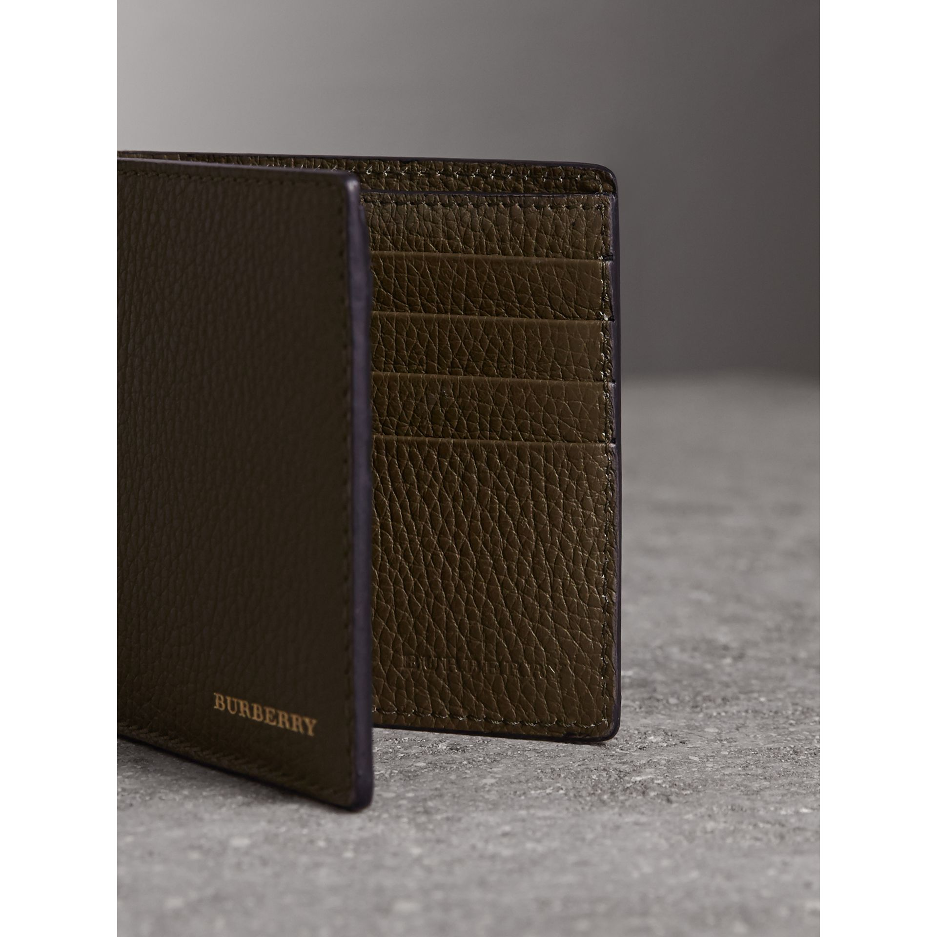 Leather and House Check International Bifold Wallet in Sage - Men | Burberry - gallery image 3