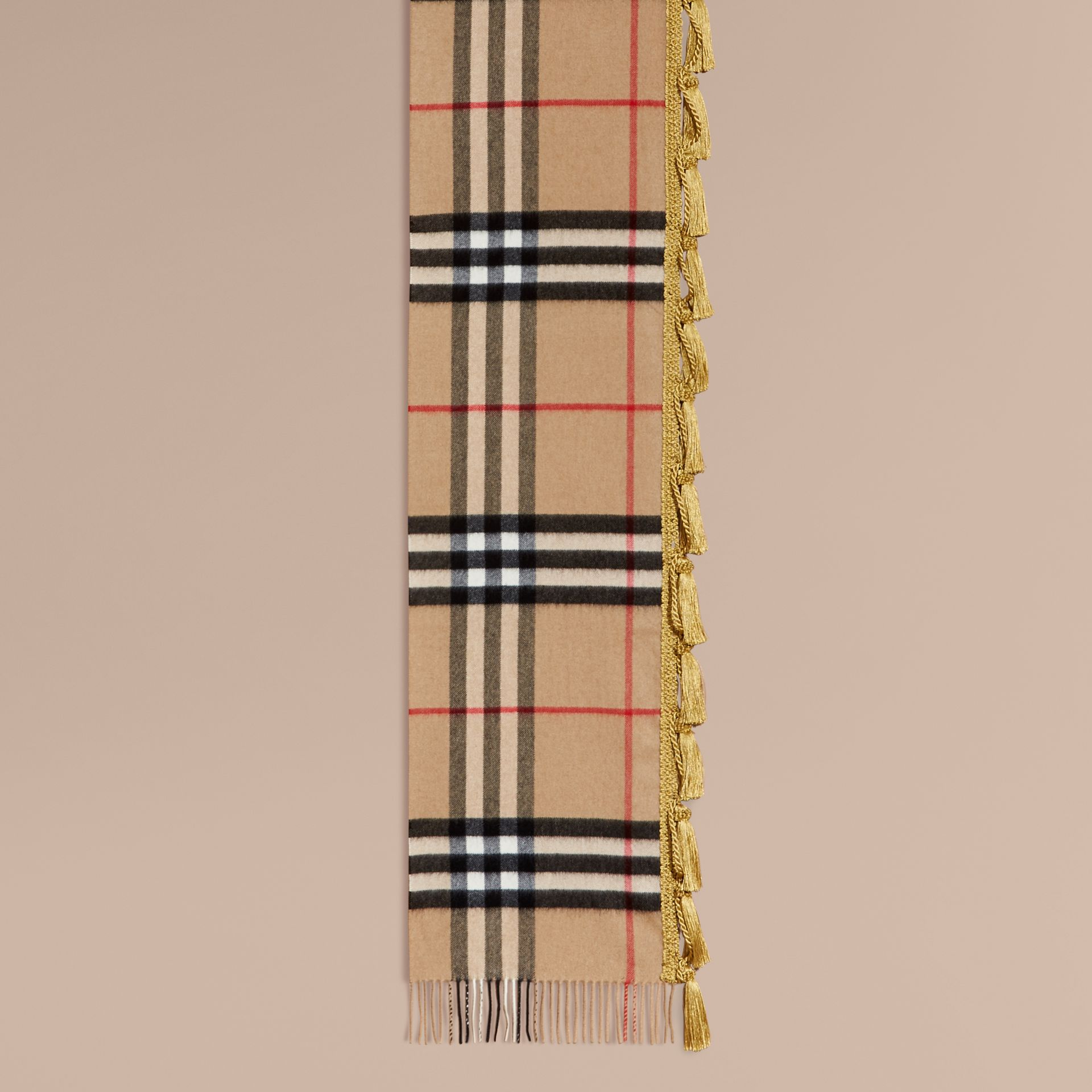 The Classic Cashmere Scarf in Check with tassels - gallery image 2