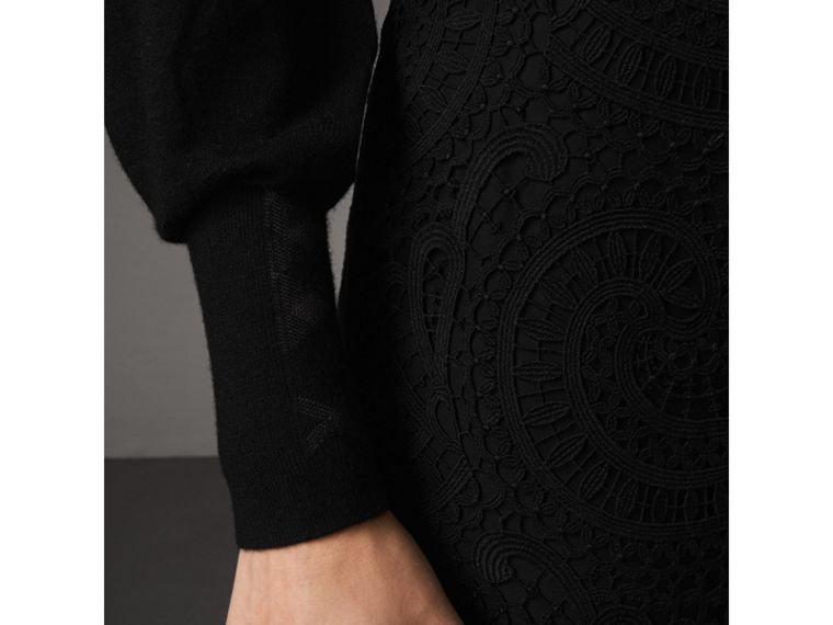 Open-knit Detail Cashmere Sweater in Black - Women | Burberry Canada - cell image 1
