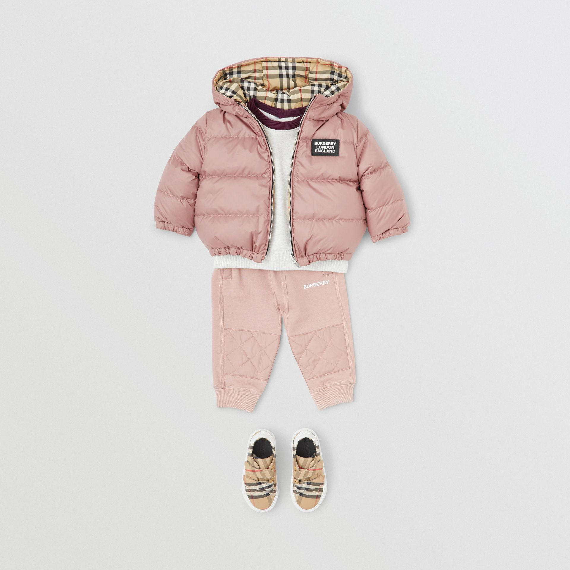 Reversible Vintage Check Down-filled Puffer Jacket in Lavender Pink - Children | Burberry - gallery image 2