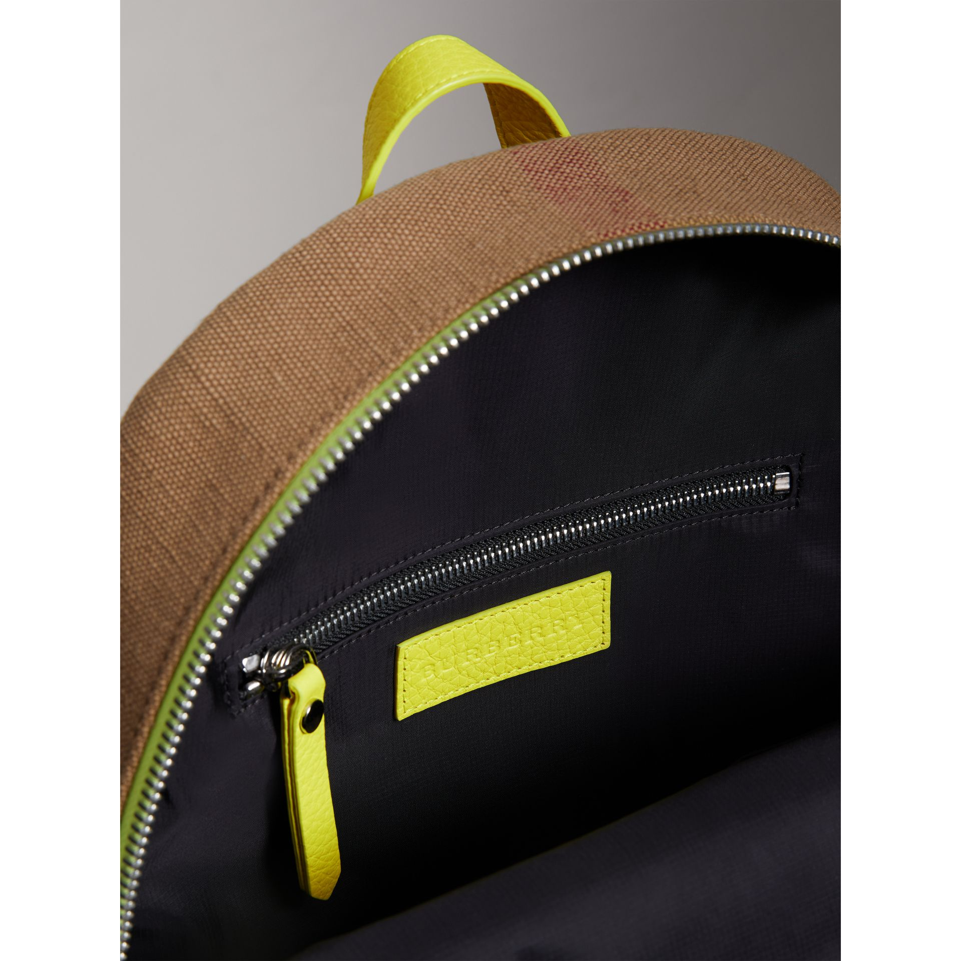 Canvas Check and Leather Backpack in Neon Yellow | Burberry United States - gallery image 3