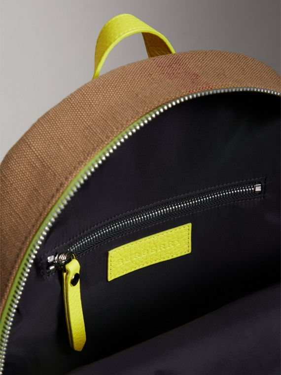 Canvas Check and Leather Backpack in Neon Yellow | Burberry United States - cell image 3