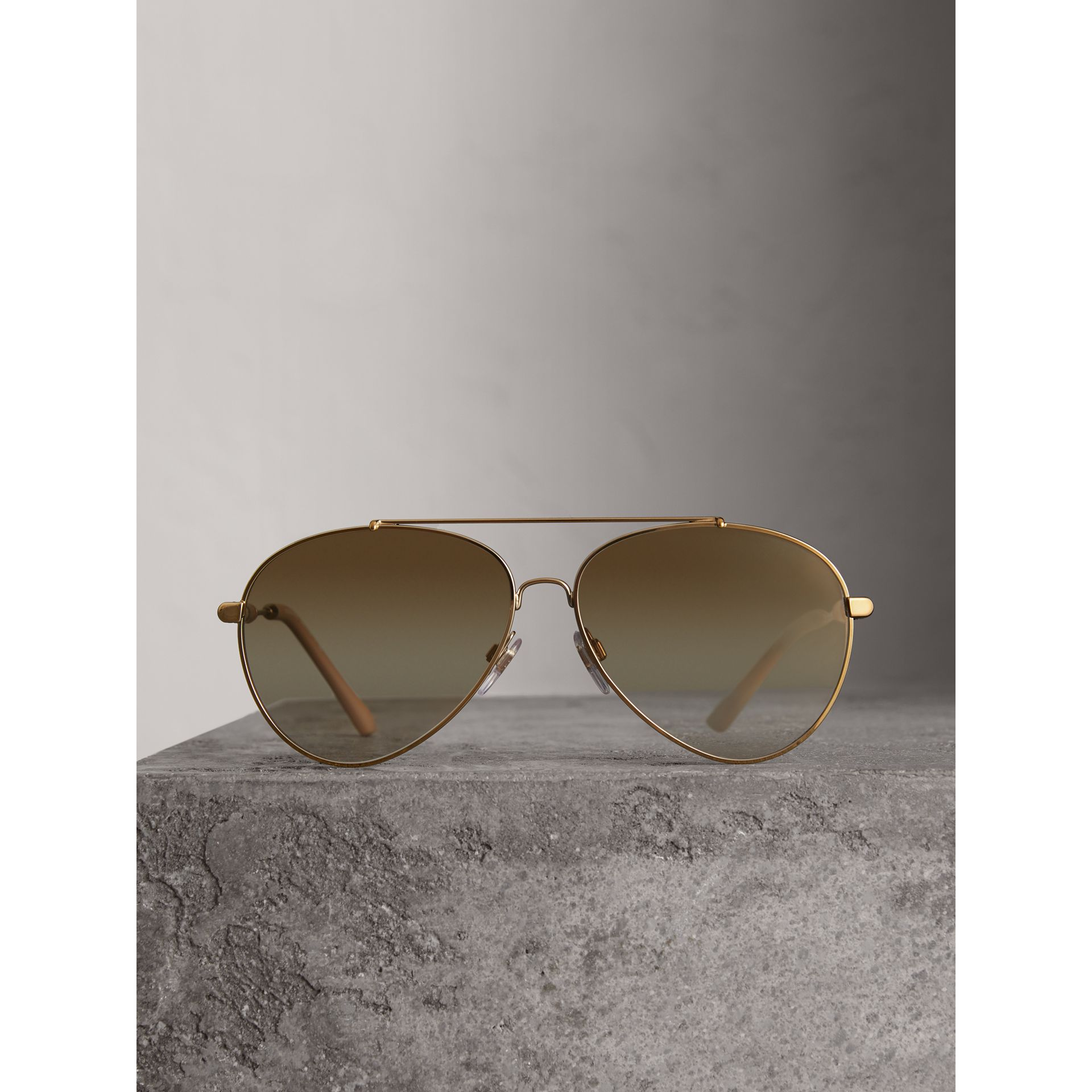 Check Detail Pilot Sunglasses in Nude - Women | Burberry United Kingdom - gallery image 3
