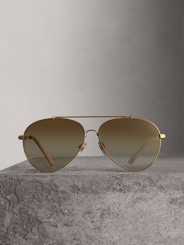 Check Detail Pilot Sunglasses in Nude - Women | Burberry United Kingdom - cell image 3