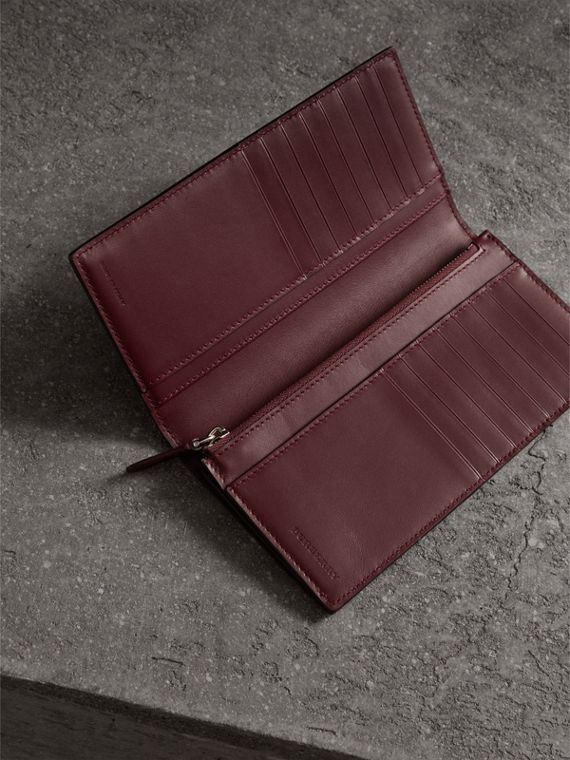 London Leather Continental Wallet in Burgundy Red - Men | Burberry Australia - cell image 3