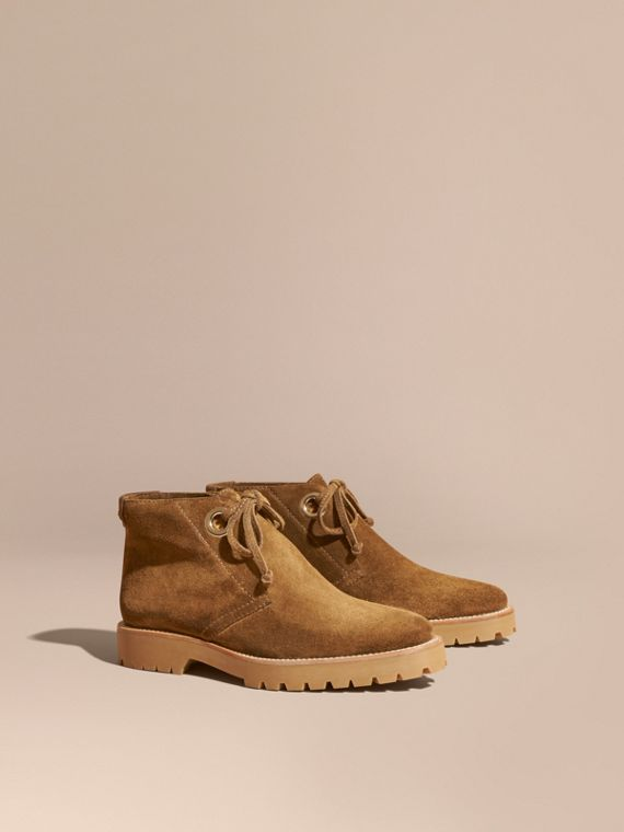 Suede Lace-up Ankle Boots - Women | Burberry