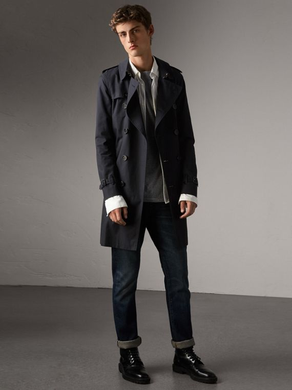 The Sandringham – Long Trench Coat in Navy