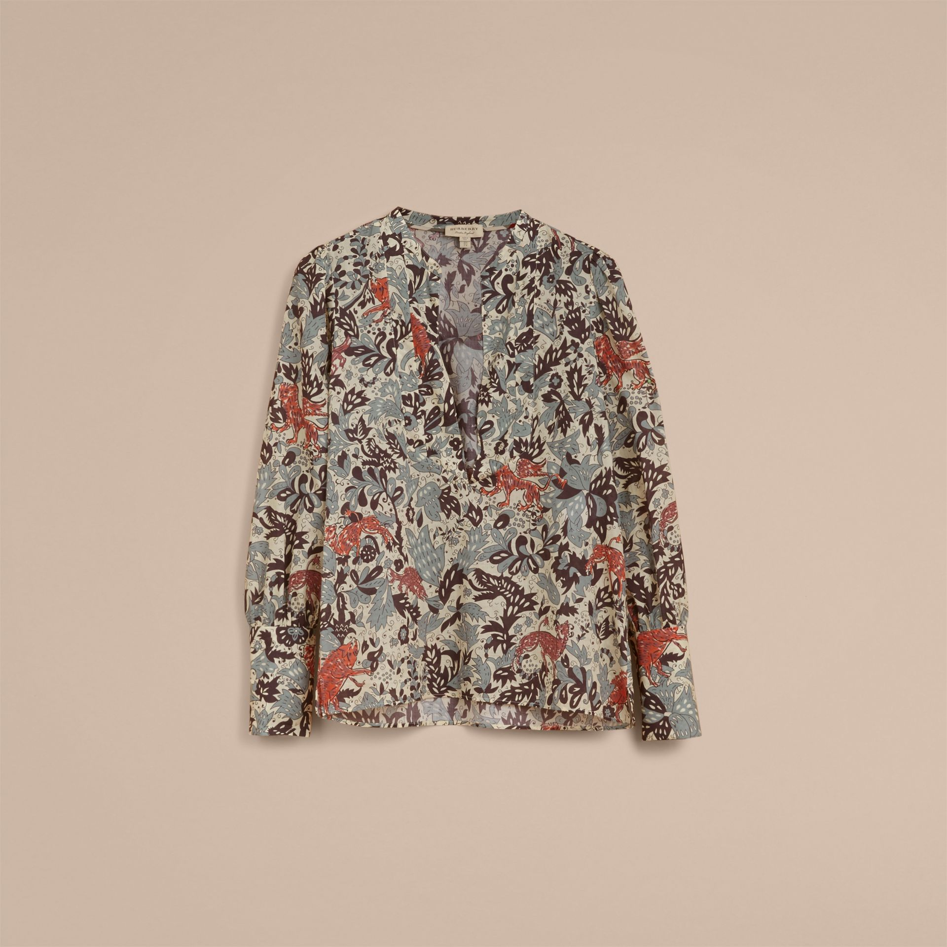 Beasts Print Cotton Tunic Shirt in Pale Blue Carbon - Women | Burberry - gallery image 4
