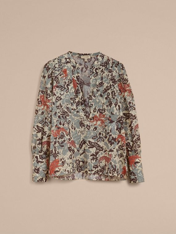 Beasts Print Cotton Tunic Shirt in Pale Blue Carbon - Women | Burberry - cell image 3