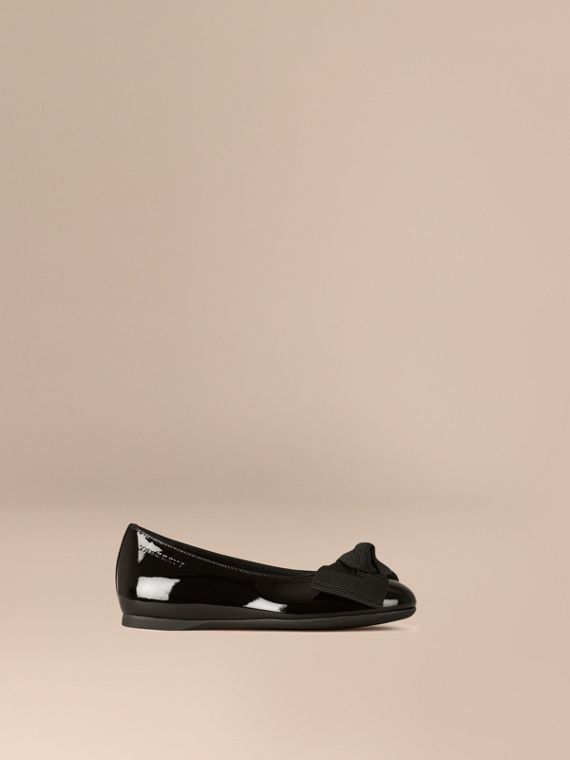 Bow Detail Leather Ballerinas - Girl | Burberry Canada