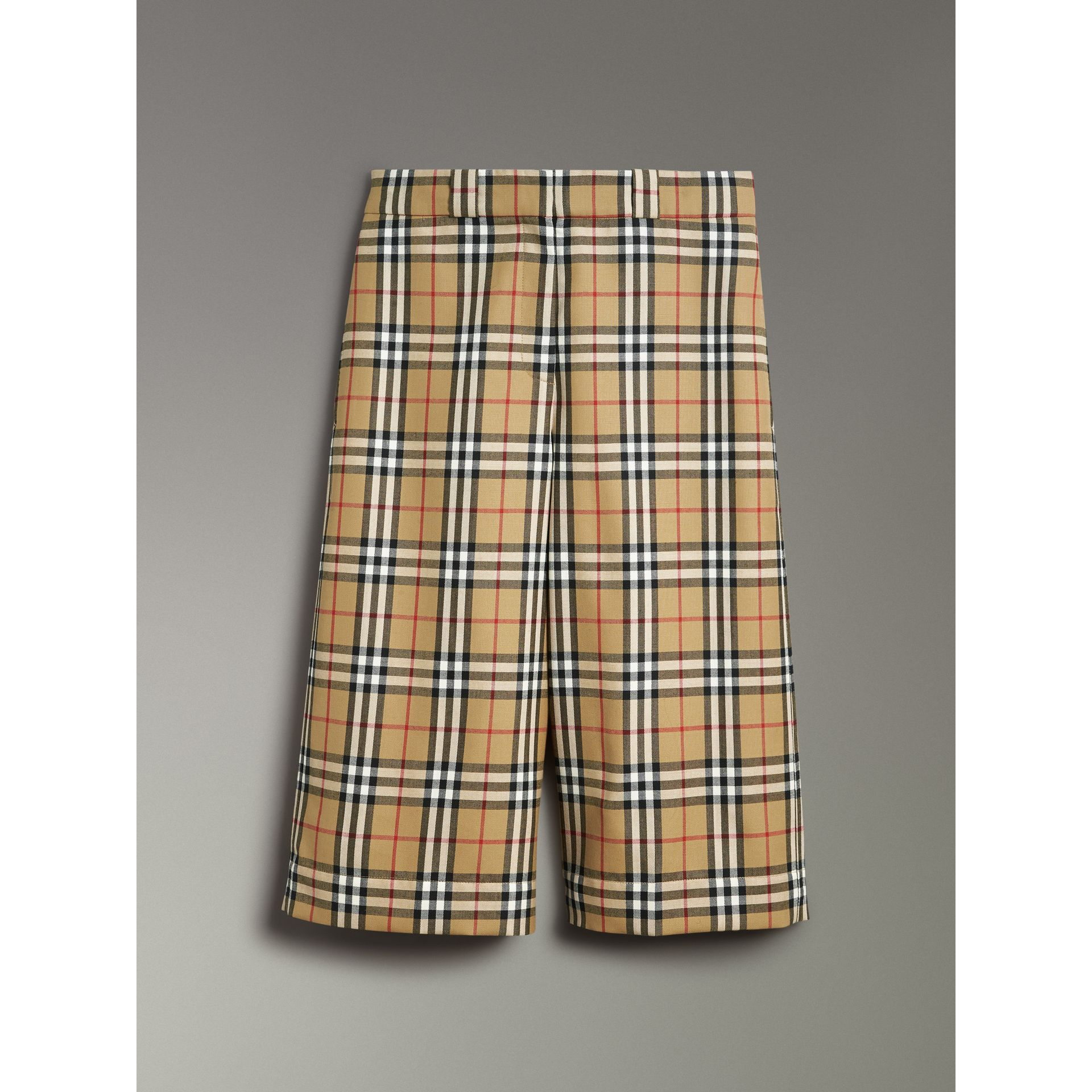 Vintage Check Wool Tailored Culottes in Antique Yellow - Women | Burberry Singapore - gallery image 3