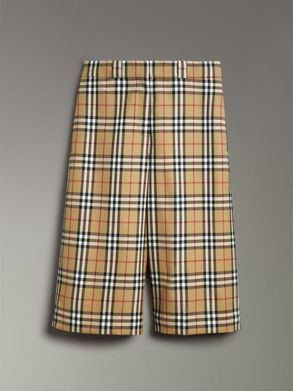 Vintage Check Wool Tailored Shorts in Antique Yellow - Women | Burberry - cell image 3