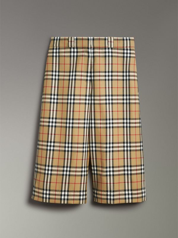 Vintage Check Wool Tailored Culottes in Antique Yellow - Women | Burberry - cell image 3