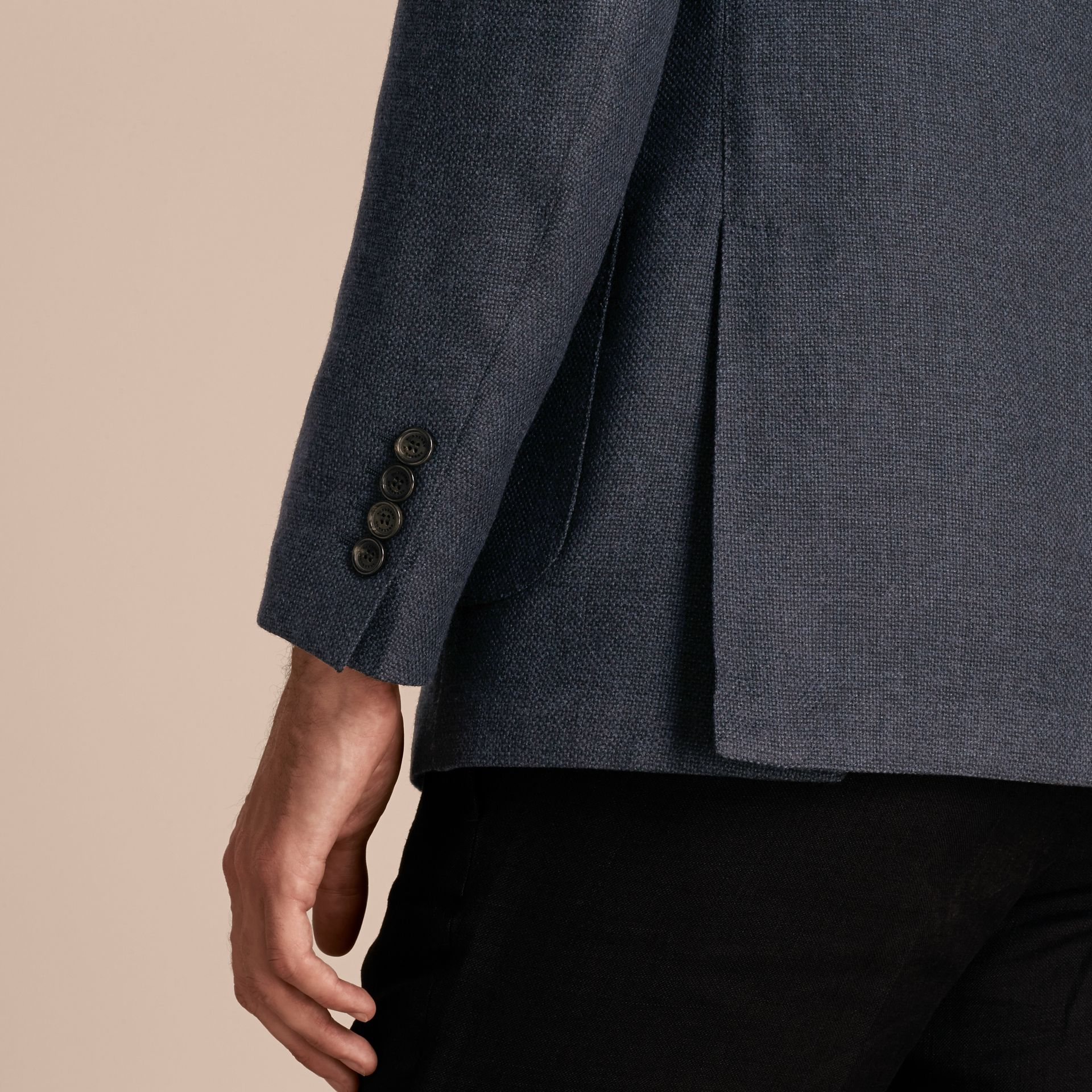 Storm blue Modern Fit Wool Cashmere Hopsack Tailored Jacket - gallery image 6