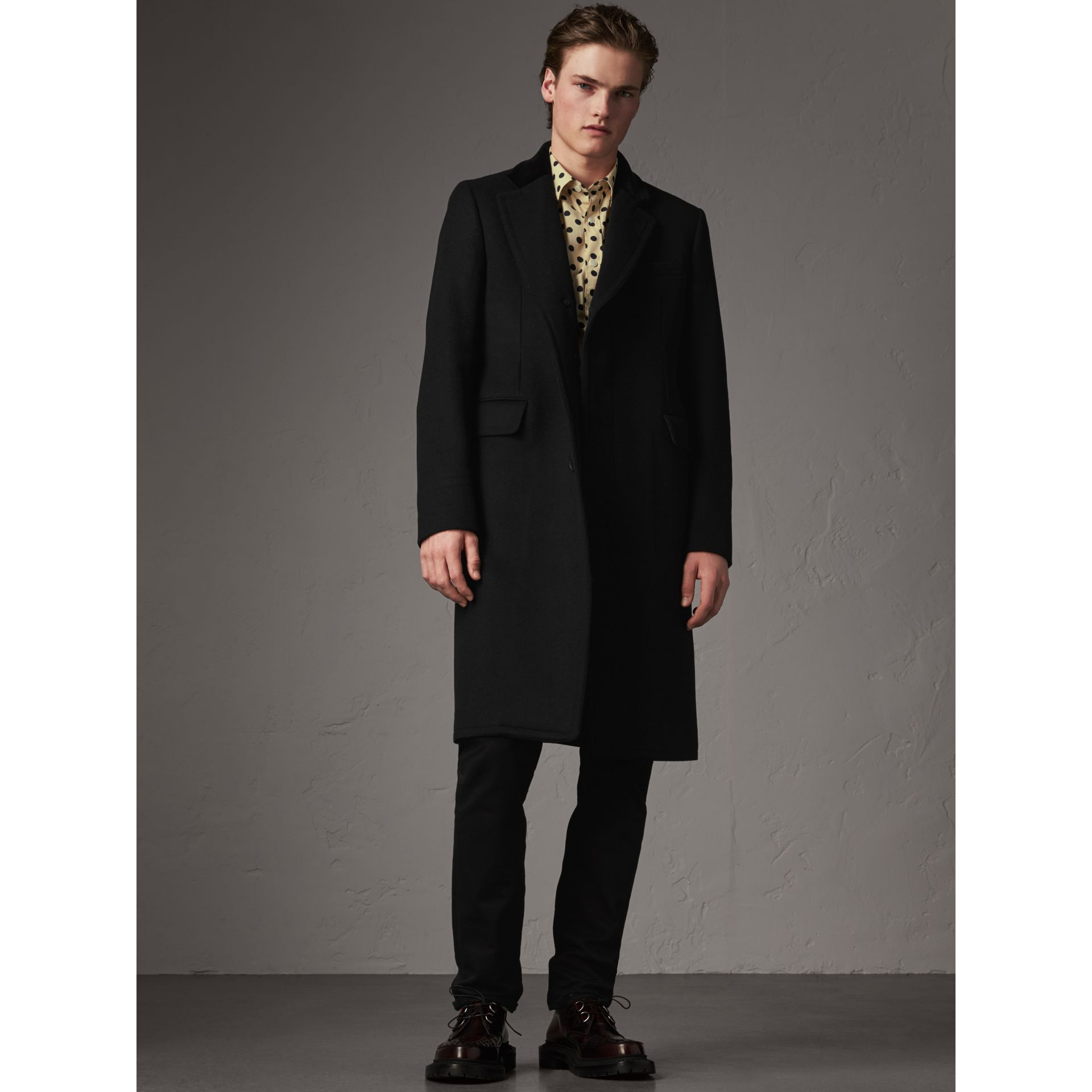Velvet Collar Wool Cashmere Blend Riding Coat in Black - Men | Burberry United Kingdom - gallery image 1