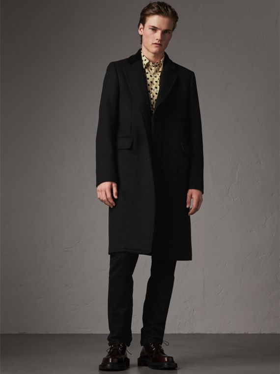 Velvet Collar Wool Cashmere Blend Riding Coat in Black