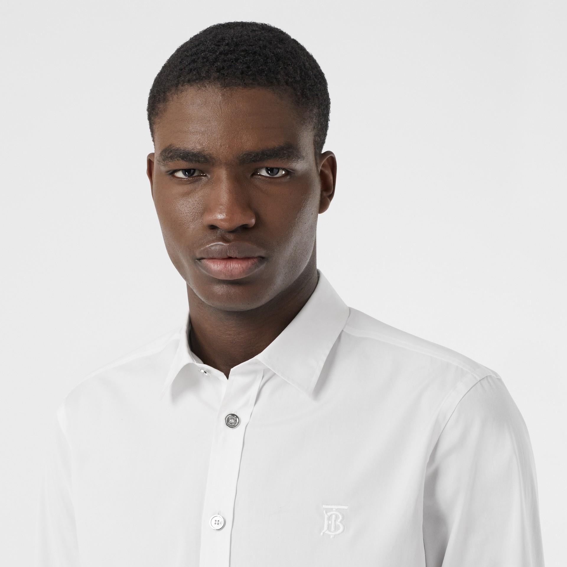 Monogram Motif Stretch Cotton Poplin Shirt in White - Men | Burberry United Kingdom - gallery image 1