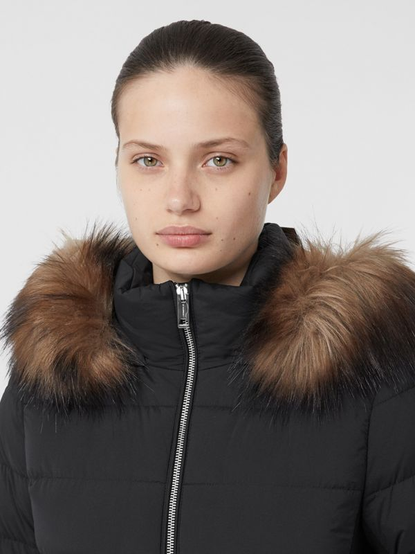 Detachable Faux Fur Trim Hooded Puffer Coat in Black - Women | Burberry - cell image 3