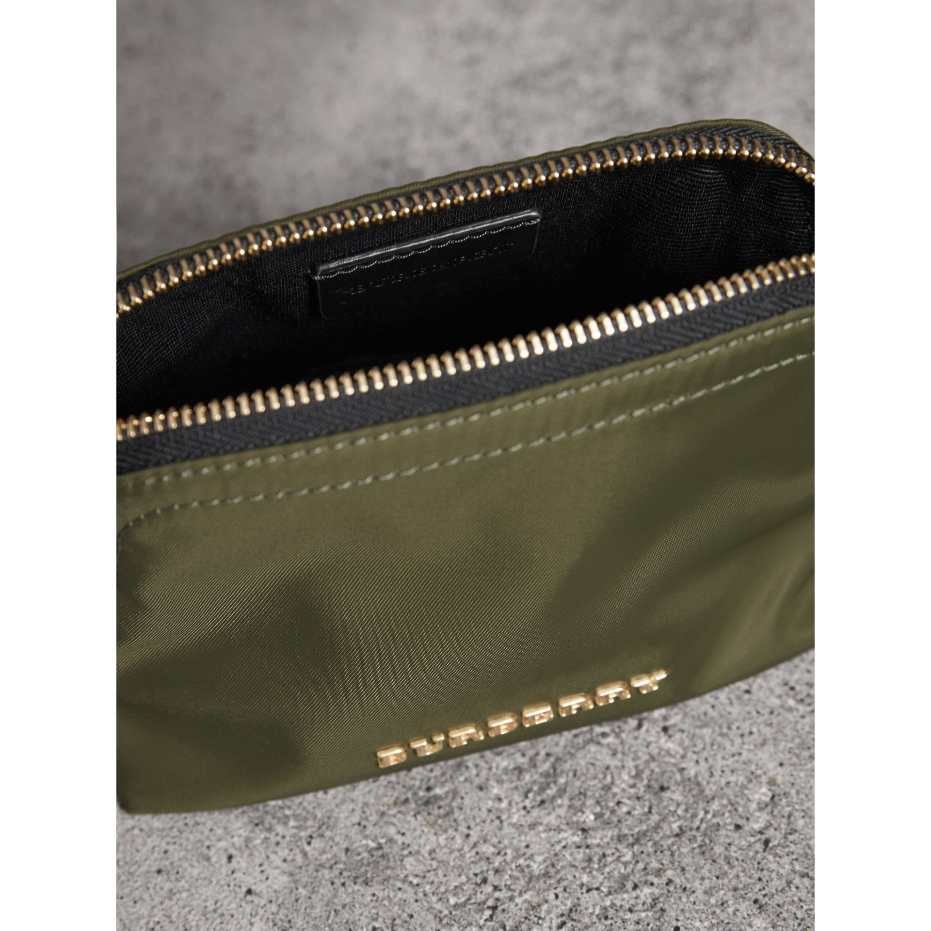 Small Zip-top Technical Nylon Pouch in Canvas Green - Women | Burberry Hong Kong - gallery image 4