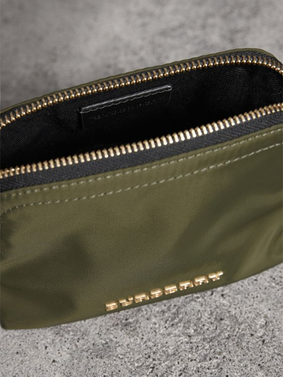 Small Zip-top Technical Nylon Pouch in Canvas Green - Women | Burberry United Kingdom - cell image 3