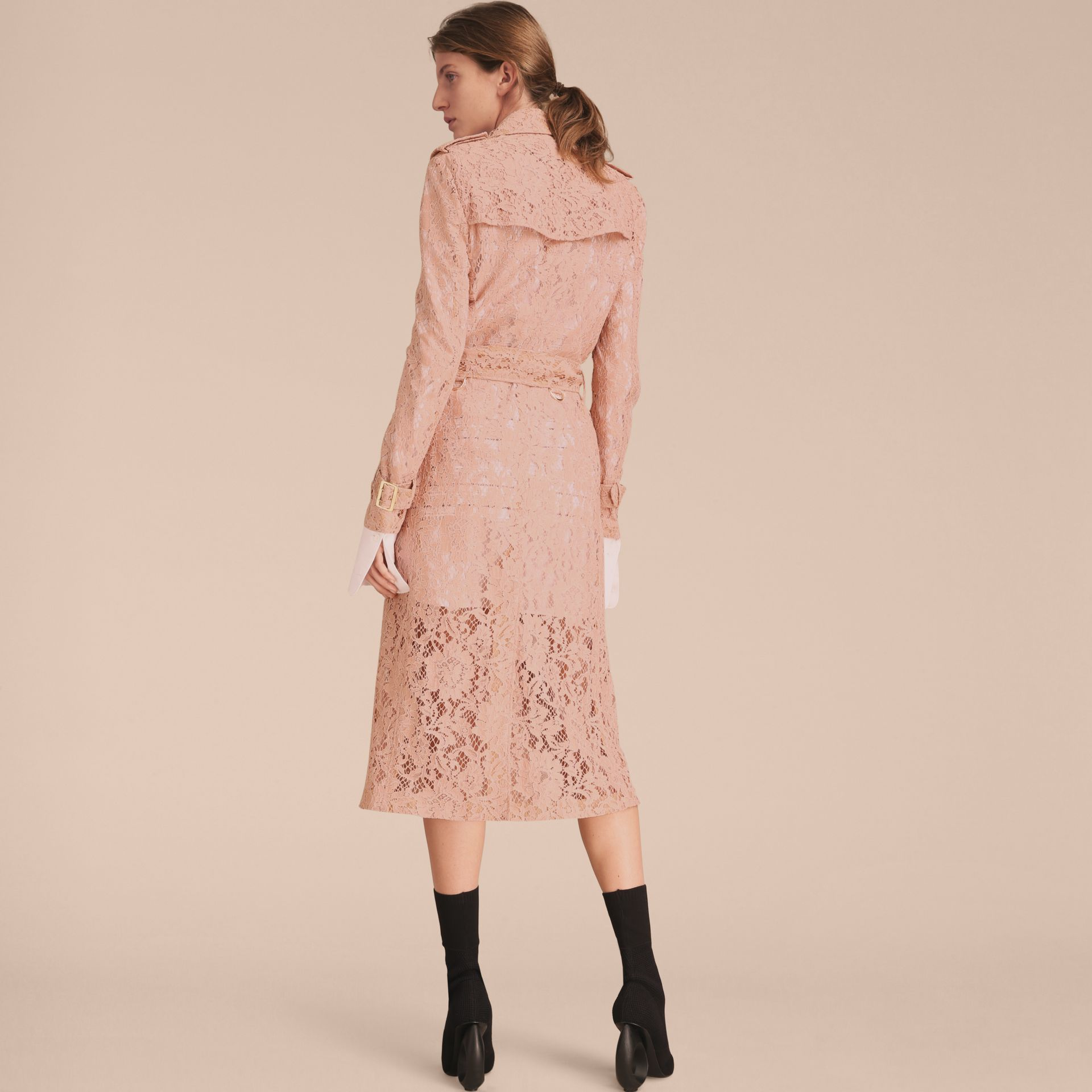 Macramé Lace Trench Coat Pale Pink - gallery image 2