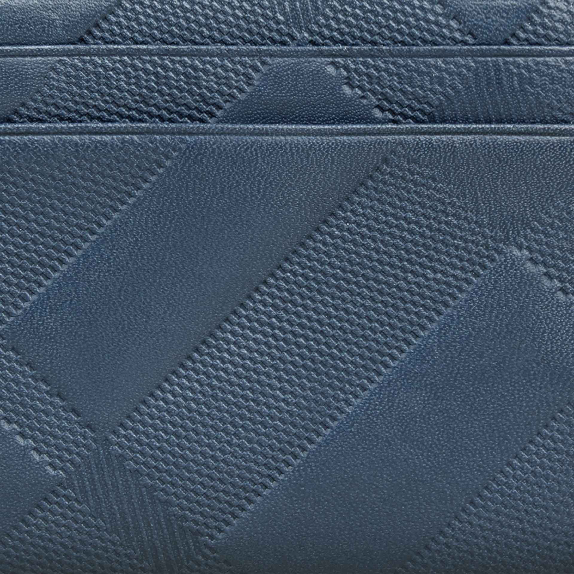 Steel blue Embossed Check Leather Folding Wallet Steel Blue - gallery image 2
