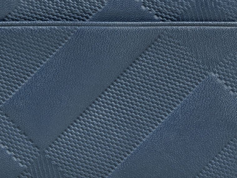 Steel blue Embossed Check Leather Folding Wallet Steel Blue - cell image 1