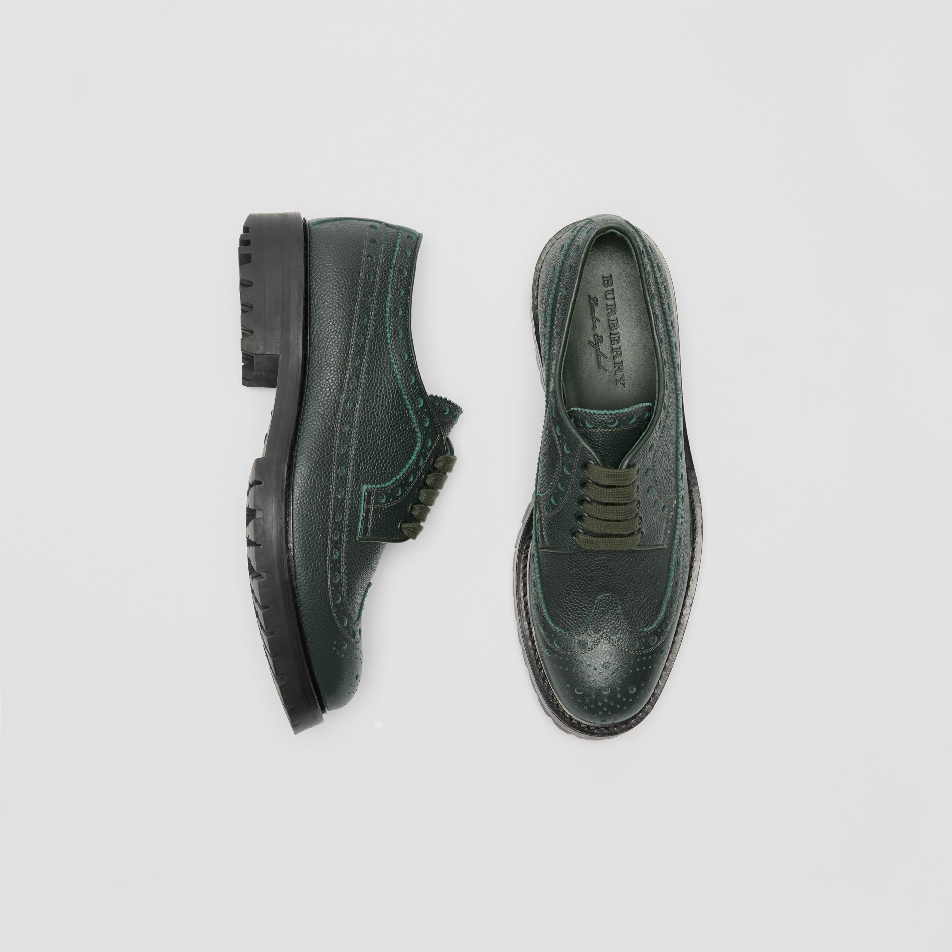 Brogue Detail Grainy Leather Derby Shoes in Deep Viridian Green - Men | Burberry Singapore - gallery image 0