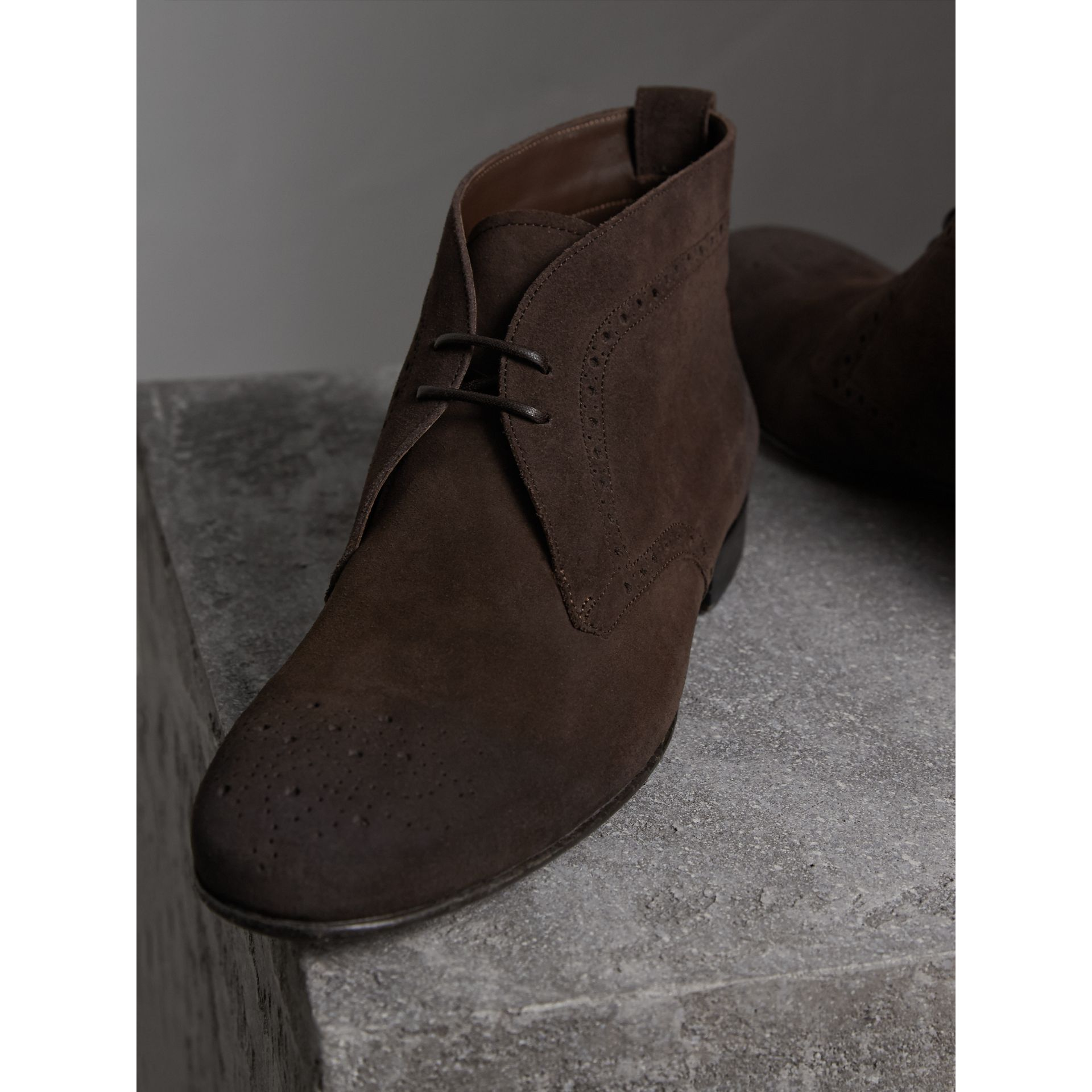 Brogue Detail Suede Desert Boots in Peat Brown - Men | Burberry - gallery image 4