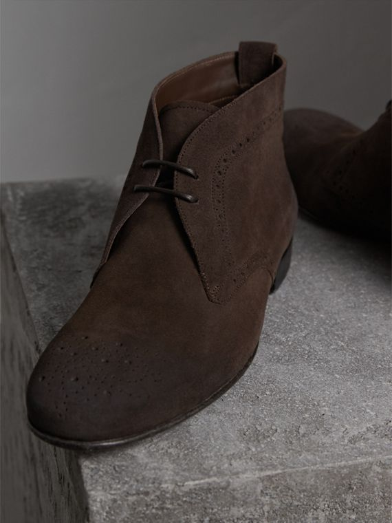 Brogue Detail Suede Desert Boots in Peat Brown - Men | Burberry - cell image 3