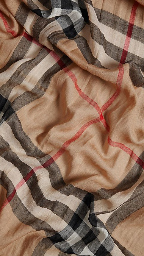 Camel check Lightweight Check Wool and Silk Scarf - Image 4