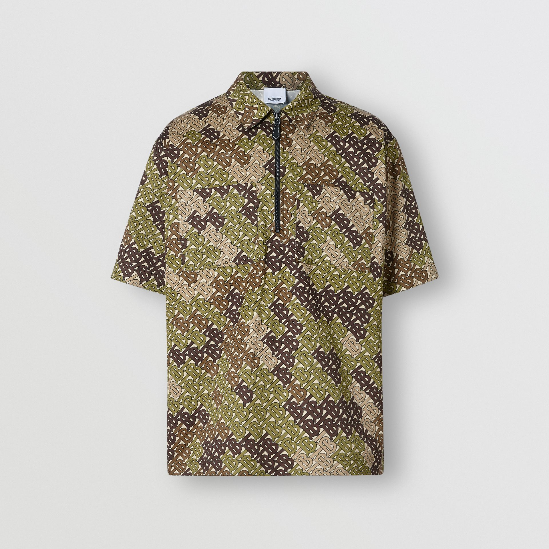 Short-sleeve Monogram Print Cotton Shirt in Khaki Green - Men | Burberry - gallery image 3